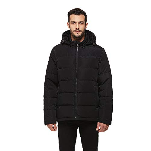 Universo Men's Heavy Duty Insulated Winter Down Parka Jacket Anorak Puffer Coat with Removable Hood(Black,L)