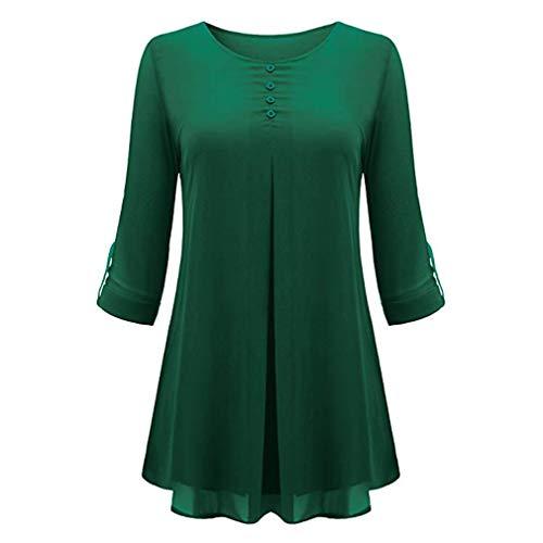 Sensiabl Modische Frauen Langarm einfarbig Hemd Tops O Hals Chiffon Bluse grün L.