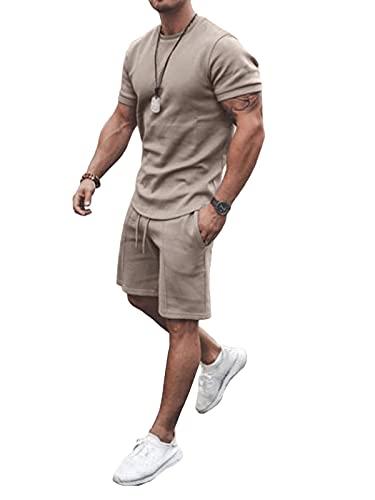 Tomwell Herren Sommer Sportbekleidung, MäNner Trainingsanzug 2-Teiliges Outfit Kurzarm Shirts + Kurze Hose Sets Jogginganzug Freizeitanzug Gym Running Mode Sweatshirt B Khaki XL
