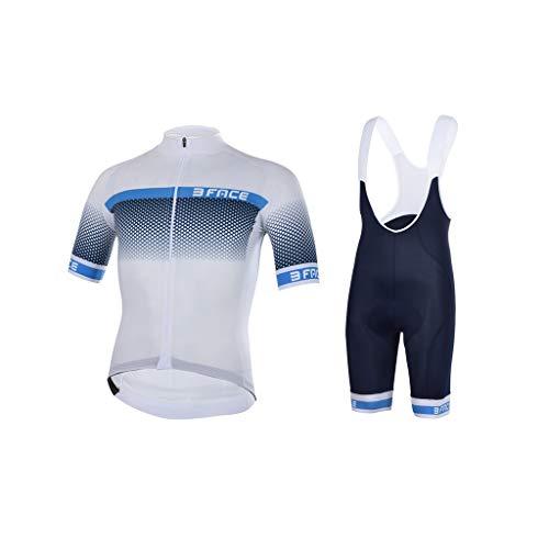 Threeface Divisa Estiva Ciclismo Raised Maglia + Pantaloncino Made in Italy (Bianco/Blu Navy, M)