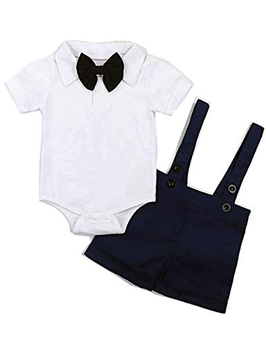 Conjunto de ropa de bebé y caballero, de manga corta, para niño, color azul, 9-12 m