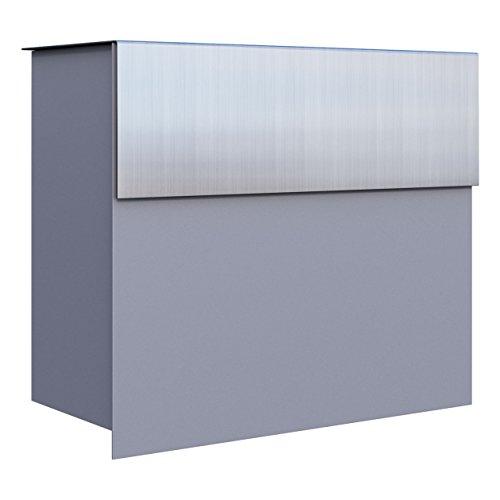 Briefkasten Design Wandbriefkasten Molto Grau Metallic/Edelstahl - Bravios