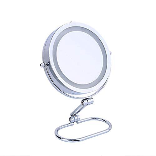 ZXMDP Miroir Portable Maquillage LED illuminé 5X Miroir grossissant Maquillage -Double-Side Beauté Compact Table Pliante Miroir