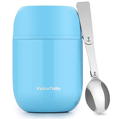 ValueTalks Thermobehälter für Essen Speisegefäß Warmhaltebox Edelstahl Thermo-Speisebehälter Lunch Becher mit Löffel isolierbehälter für Babynahrung Suppe bleiben heiß/kalt BPA-Free (Himmelblau)