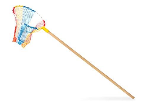 Giobas snc 10895 Bunter Kescher für Kinder mit Holzstiel, für kleine Forscher und Entdecker, Entdeckerspielzeug, Schmetterlingsnetz, ab 3 Jahren