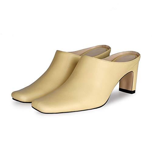 XIANWFBJ Hochhackige Schuhe, Neue Lässige Und Bequeme Baotou-Hausschuhe Für Frühling Und Sommer, Dickhackige Sandalen Für Den Alltag (Weiß, Grün, Gelb, Blau),Gelb,35