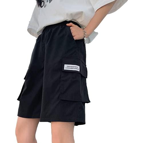 Pantalones Cortos de Carga para Mujer Moda Relajada Tendencia Fina Ropa de Calle para Acampar al Aire Libre Pantalones Cortos Casuales de Pierna Ancha con múltiples Bolsillos XL