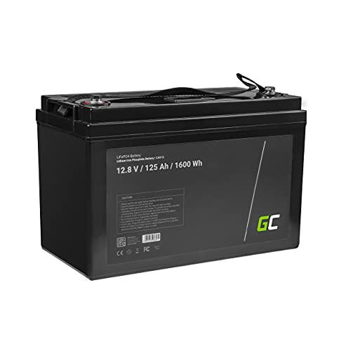 Green Cell® LiFePO4 Akku (125Ah 12.8V 1600Wh) Lithium-Eisen-Phosphat Batterie 12V Photovoltaikanlage BMS für Reisemobil Wohnmobil Caravan Boat Boot Golf Trolley Solar Solarbatterie Haushalt