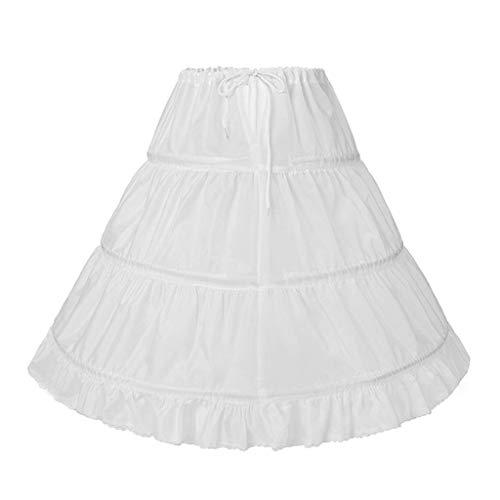 Youliy Enaguada para niños y niñas, línea A, 3 aros, 1 capa, enaguardiente, vestido de flores, vestido de niña, con cordón elástico, mitad de deslizamiento, faldas blancas