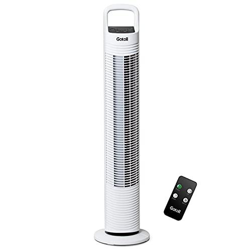 Gotoll Turmventilator mit Fernbedienung, Tower Fan, 3 Geschwindigkeit Säulenventilator, mit Timer Ventilator, Luftkühler 45W, 81cm, Weiß