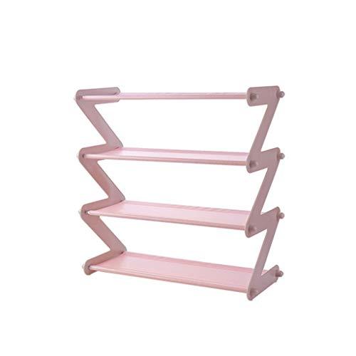 B-fengliu Conjunto de Estante for Zapatos en Forma de Z Estante for Zapatos no Tejido Inicio Estante de Almacenamiento de Varias Capas Estantes de Zapatos de plástico Desmontables (Color : Pink)