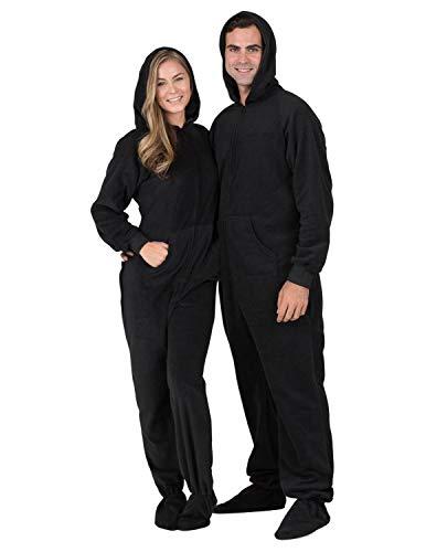 Footed Pajamas - Midnite Black Adult Hoodie Drop Seat Fleece Onesie - Adult - Large Plus/Wide (Fits 5'11 - 6'4')