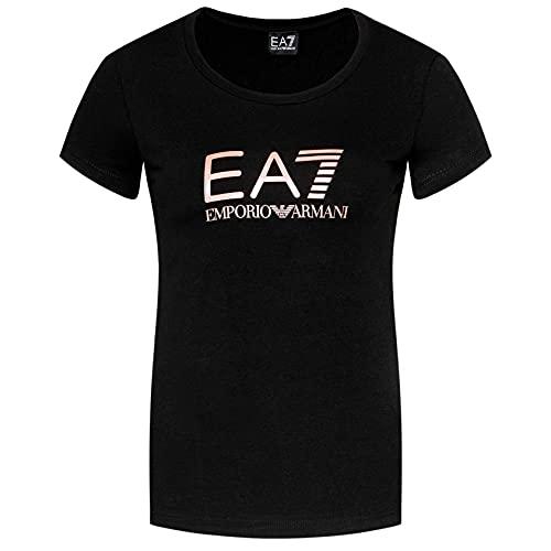 Emporio Armani EA7 8NTT63 TJ12Z - Camiseta de manga corta para mujer Negro Logo oro rosa XL