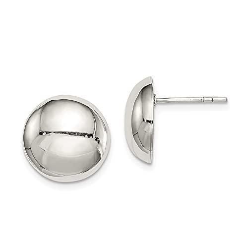 Pendientes de plata de ley 925 pulidos con botón de 13 mm, para mujer
