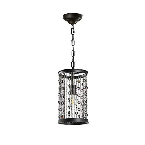 Lámpara colgante de borla creativa retro Restaurante de campo americano Industrial Lámpara colgante antigua Hierro forjado Ambiente Piedras preciosas Sala de estar Luz de techo de cristal