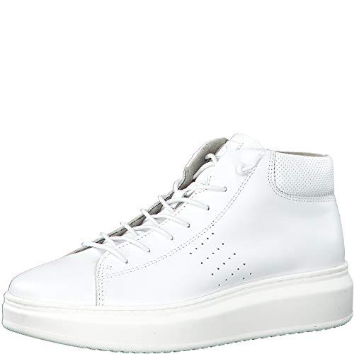 Tamaris Damen Stiefel 25202-34, Frauen Schnürstiefel, Boots kurz-Stiefel high top Sneaker Sportschuhe schnürung weibliche Lady,White,37 EU / 4 UK