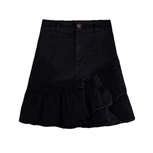 N\P Mini Faldas De Las Mujeres Volantes Colores De Verano Denim Retro College