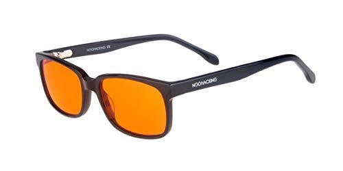 NoOHACKING® 100 % anti-blått ljus filtrerande glasögon - anti-trötthet och ögonskydd mot artificiellt ljus - perfekt för sömn (sömnlöshet) / biohacking/spelare (52-18-135, svart)