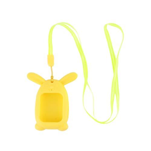 Ixkbiced Cubierta Protectora de Eslinga Colgante de Silicona de Conejo Lindo para Reloj Inteligente Q90 para niños
