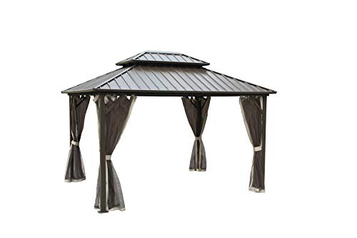 LUCKYBERRY 10' X 12' Outdoor Hardtop Galvanized Steel Roof Double Top Permanent Gazebo Canopy Curtains Aluminum Frame Patio Garden Gazebo with Netting Gutter System