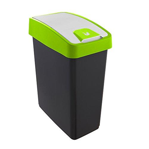 keeeper Cubo de la Basura Premium con Tapa Abatible, Tacto suave, 25 l, Magne, Verde