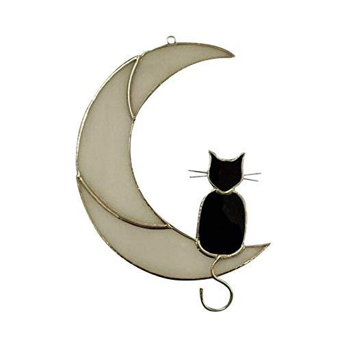 NMSLQ Cat On Moon Suncatcher, Windchime Stile Vetro colorato, Finestra appesa Sun Catcher Amante dei Gatti Regalo Decor - buoni ricordi (Color : White, Size : A)