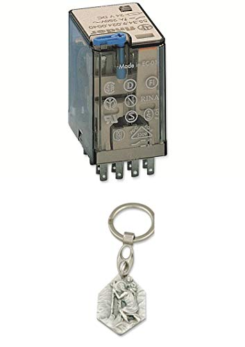 Zisa-Kombi Relais Finder F 55.34, 24 V-, 4xUM, 7 A, LED-Anzeige, Freilaufdiode (985988340870) mit Anhänger Herz Jesu 2,5cm