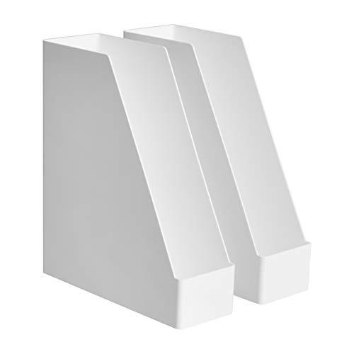 Amazon Basics Organizador de plástico, revistero, blanco, paquete de 2