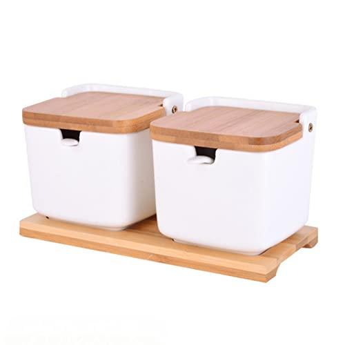 GZWY Soporte para especias de cerámica y bambú, recipiente para especias de porcelana con tapa de bambú y cuchara de azúcar, llamativo tarro para la cocina, color blanco (forma cuadrada, 2 unidades)