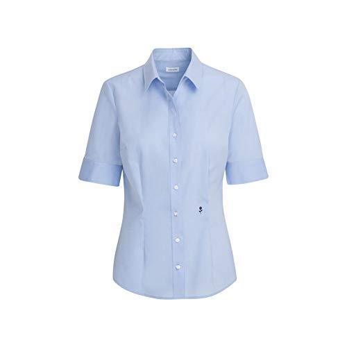 Seidensticker Damska bluzka – bez konieczności prasowania, wąska taliowana bluzka z kołnierzem koszulowym i dekoltem – krótki rękaw – 100% bawełna, jasnoniebieski, 48 PL