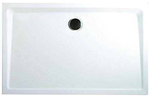 Schulte EP212912 04 Duschwanne extra-flach Rechteck, 90 x 120 cm, Mineralguss, alpinweiß, inkl, Füße und Ablauf, für bequemen Einstieg
