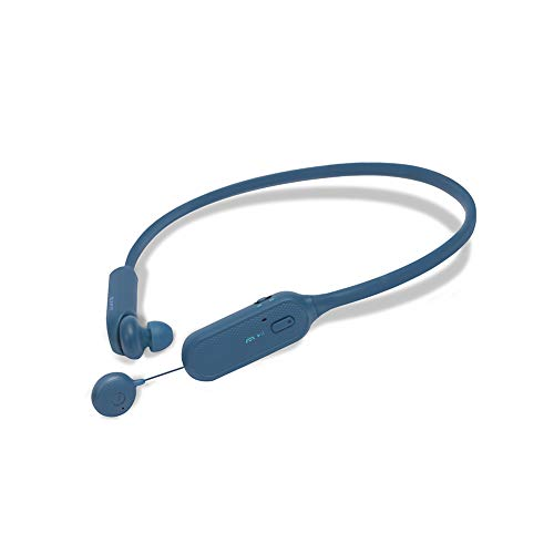 BCS-A1 | Wireless Bluetooth Headphones Neckbands with Retractable Earbuds, Strong Durability with Silicone Material for Home Office, Video Conference Call (Blue)