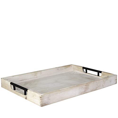 Bandeja para servir otomana de madera rectangular grande con asas de metal, bandeja de madera rústica vintage con mango de acero para desayuno, bebidas, decoración de granja 50 x 35cm (lavado blanco)