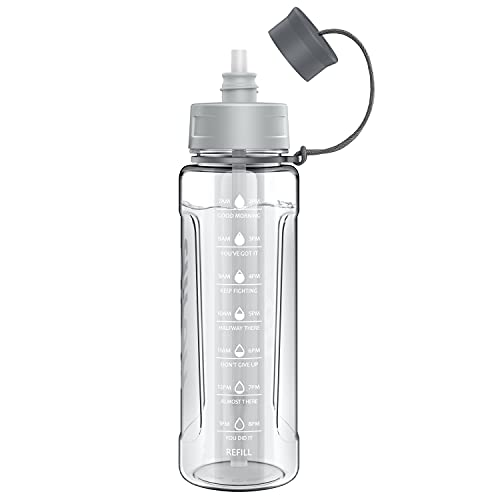 AIRON 34oz Sports Water Bottle - Leakproof & BPA Free Tritan with Time Marker & Removable Straw to Ensure You Drink Enough Water Throughout The Day for Fitness and Outdoor Sports Grey