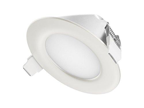 TEVEA® Ultra Flach LED Einbaustrahler IP44 dimmbar für den Wohnbereich |auch für das Bad geeignet| 6W 230V Rahmen weiss Rund Einbauspots Badleuchten (Kaltweiss)