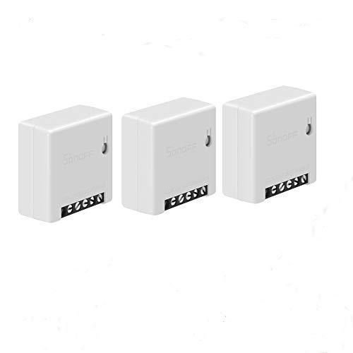 Snowsound 3 Pack Wi-Fi Smart Switch MINI Modulo telecomando fai-da-te Interruttore intelligente a due vie Supporta switch esterno Timing Voice Control Funziona con Alexa e Google Home