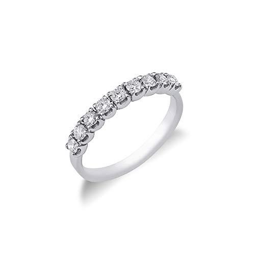 Gioielli di Valenza - Anello Veretta a 9 pietre in Oro bianco 18k con diamanti ct. 0,45 - FE901045BB - 22