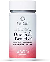 One Fish Two Fish Prenatal DHA, Superior Triglyceride Omega 3 Fish Oil Supplements, Support Baby's Brain and Eye Development, Easy to Swallow, Lemon Flavored, 60 Ct, Best Nest Wellness