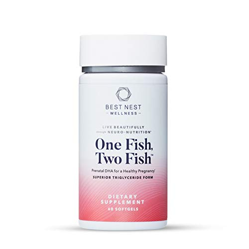 One Fish Two Fish Prenatal DHA, Ultra Pure Triglyceride Omega 3 Fish Oil Supplements, Support Baby's Brain and Eye Development, Easy to Swallow, Lemon Flavored, 60 Ct, Best Nest Wellness