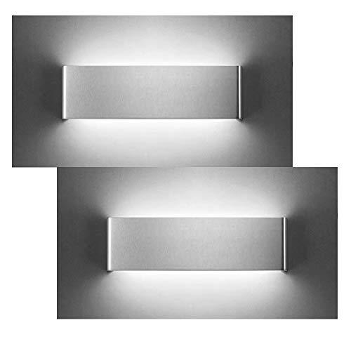 XIAJIA-2 pcs 12W LED Aplique Pared Interior,Moderna Apliques de Pared,Moda Agradable Luz de Ambiente, perfecto para Lámpara de Decoración para, Longitud 30cm,aluminio cepillado/Blanco frío