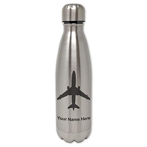 LaserGram Single Wall Stainless Steel Water Bottle, Jet Airplane, Personalized Engraving Included