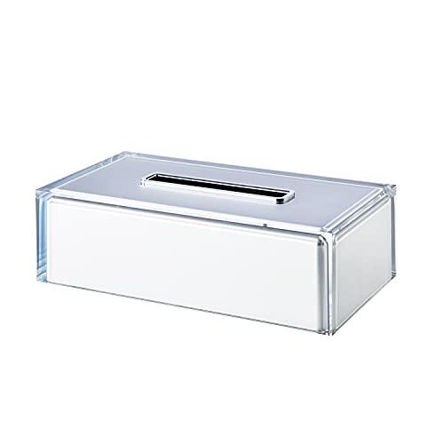 Gedy Auckland-Porta Rectangular, Color Plateado, Hecho a Mano, dispensador de pañuelos de Resina Transparente de Calidad, Dimensiones 7,5 x 25 x 13,5 cm, Talla única