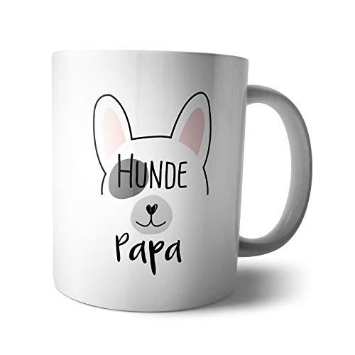 Kaffee-Becher - Tasse Hunde Papa | Spruch Comic Yoga french bulldog mit Spruch Hundepapa Hundenarr, Verpackung:Ohne Box, Design:Design 3