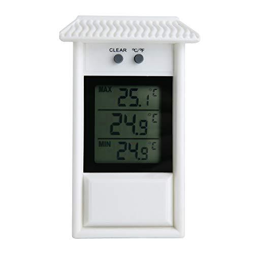 ALLOMN Termómetro de Invernadero, Termómetro Digital a Prueba de Agua, Máximo y Mínimo, Monitor de Efecto Invernadero, Resolución de 0,1 ° C, Rango de Temperatura de -20-50 ° C (Blanco)