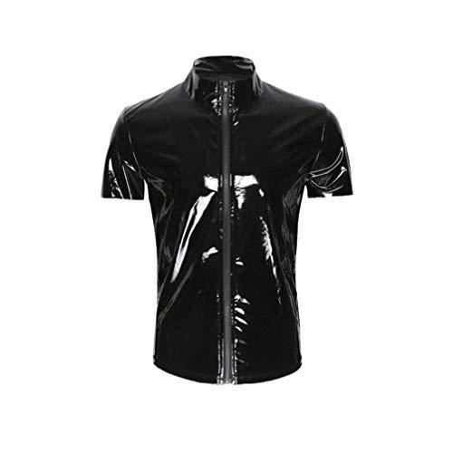HEALLILY Unisex Glänzendes Metallisches Leder Wie Kurzärmliges T-Shirt mit Mock-Neck-Unterhemd Größe L