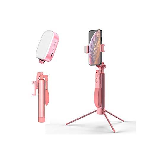JIANGQIAO Palo de selfie portátil para teléfono móvil con mando a distancia Bluetooth, luz de relleno, trípode en vivo, estabilizador de vídeo ajustable (color: 1,1 m luz rosa)