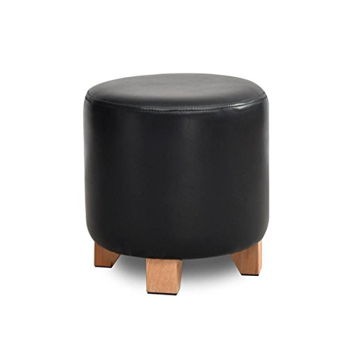 LYQQQQ Ottoman Solid Wood Shoes Stool Upholstered Footstool Footrest Leather Dressing Stool/Makeup Stool Dining Chair Small Seat Foot Rest Chair (Color : Black, Size : 29 * 35cm)
