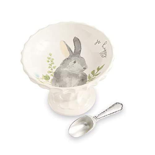 Mud Pie Home Easter Watercolor Bunny Pedestal and Vintage-style Silverplate Scoop 2-piece Set (Gray) 48500085G