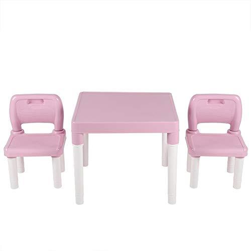 EBTOOLS Kindersitzgruppe Sitzgruppe für Kinder Kindertisch mit 2 Stühle Studium Schreibtisch Kindermöbel Set für zu Hause Kindergarten, Sicherer Kunststoff (Rosa)