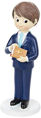 Mopec Figur zur Kommunion Junge mit Anzug und Bibel in Hand, Polyresin, Marineblau, 6,5 x 6,5 x 17 cm